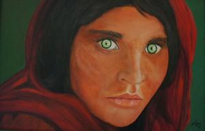 Afghan Girl painting of World Press Photo, 65 x 100, acrylic