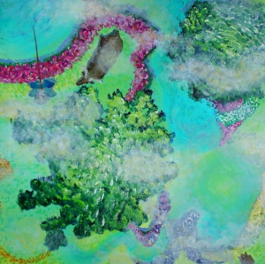 In de wolken, 60 x 60, acrylic