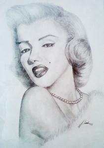 Marilyn Monrow, 60 x 70, potlood tekening