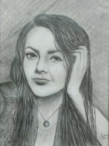 Zusje van me, potlood tekening